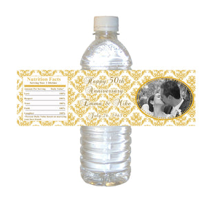 Golden 50th Wedding Anniversary Photo Bottle Label