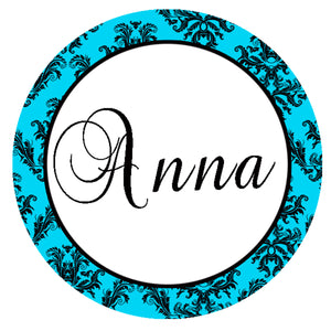 Turquoise Damask Tag Thank You Label Bridal Shower Wedding Sweet 16 Sticker