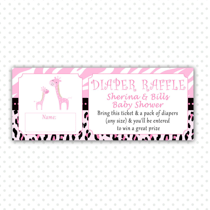 Giraffe Diaper Raffle Ticket Card Baby Girl Shower Pink Zebra Jungle