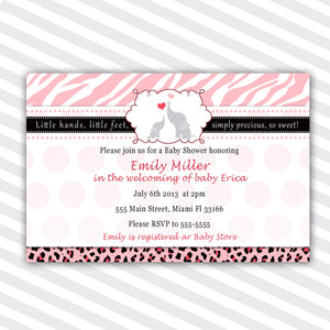 elephant invitation zebra pink baby shower