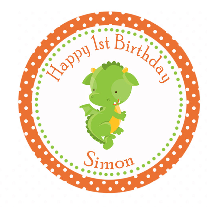 Dragon Birthday Thank You Label Baby Shower Favor Tag Orange