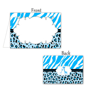Blue Giraffe Jungle Buffet Blank Tent Cards