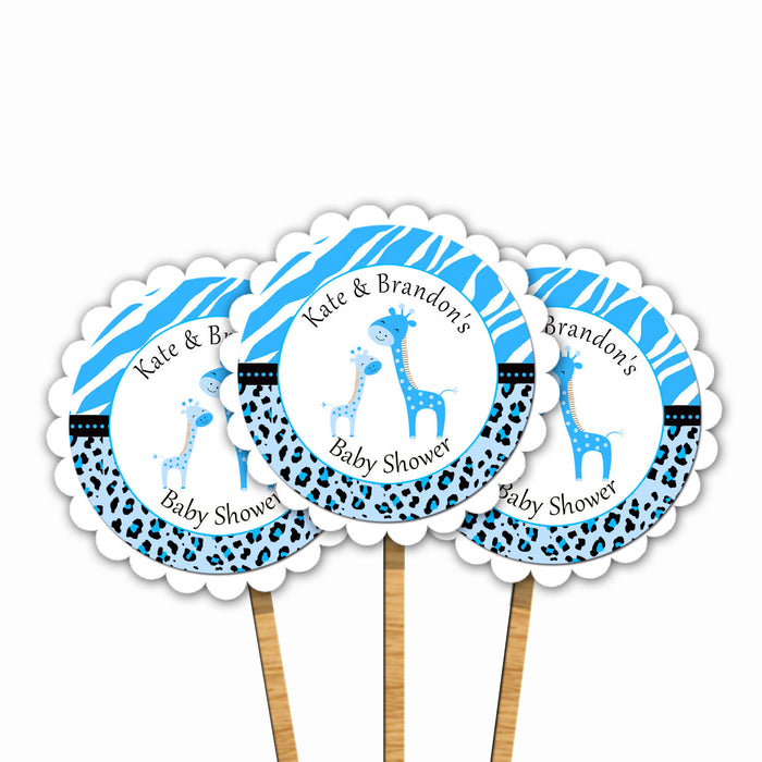 Blue Giraffe Baby Shower Cupcake Toppers