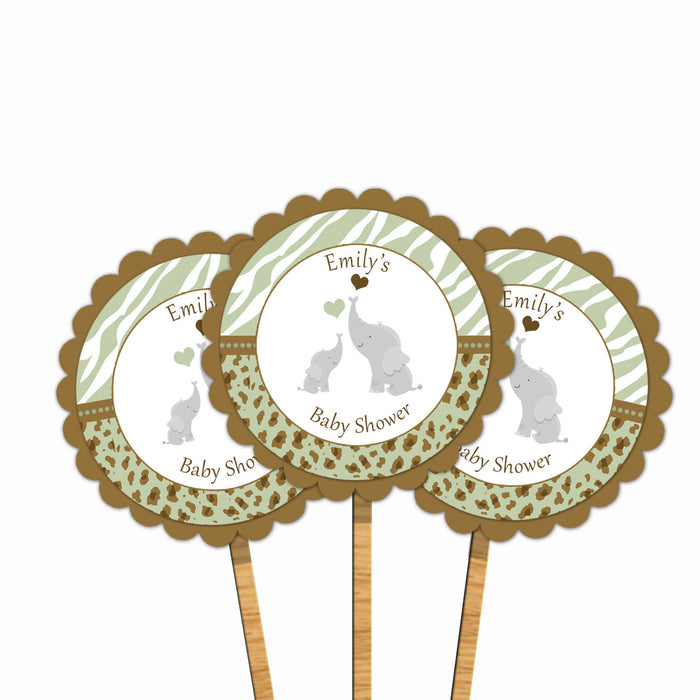 Elephant Baby Shower Cupcake Toppers Green Brown