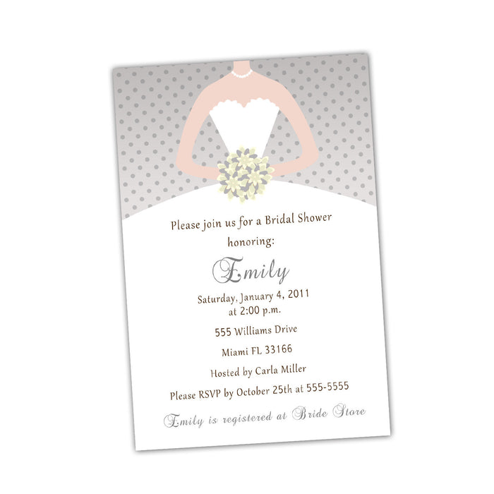 Grey Ivory Bouquet Bride Bridal Shower Invitations