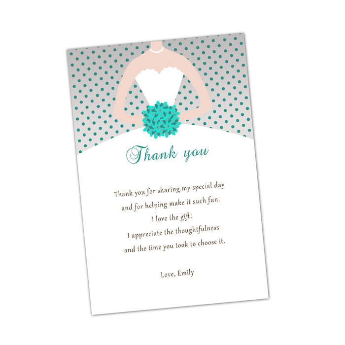 Grey Turquoise Bridal Shower Thank You Card Note