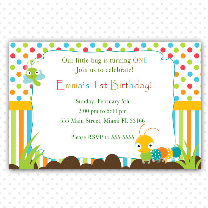 Caterpillar Invitation Bugs Kids Birthday Baby Shower