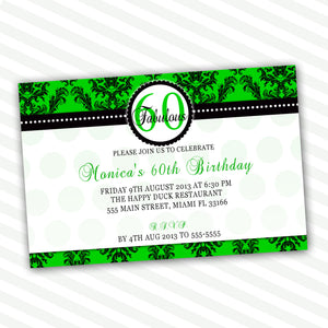 Adult Birthday Invitation Green Black Damask