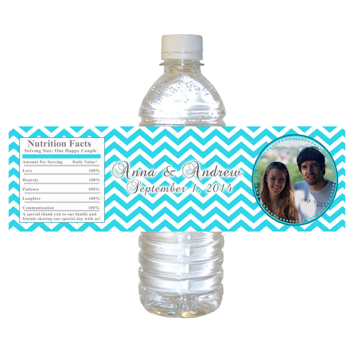 Turquoise Bridal Shower Photo Bottle Label