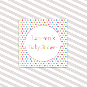 Polka Dots Baby Shower Square Tag Label Sticker Pink Blue