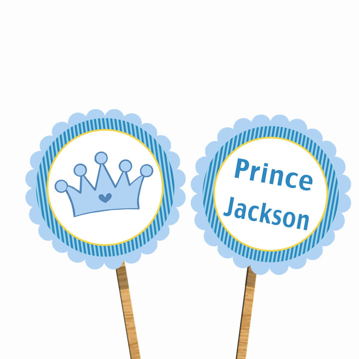 Blue Stripes Prince Cupcake Toppers