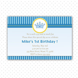 prince invitation baby boy shower yellow blue