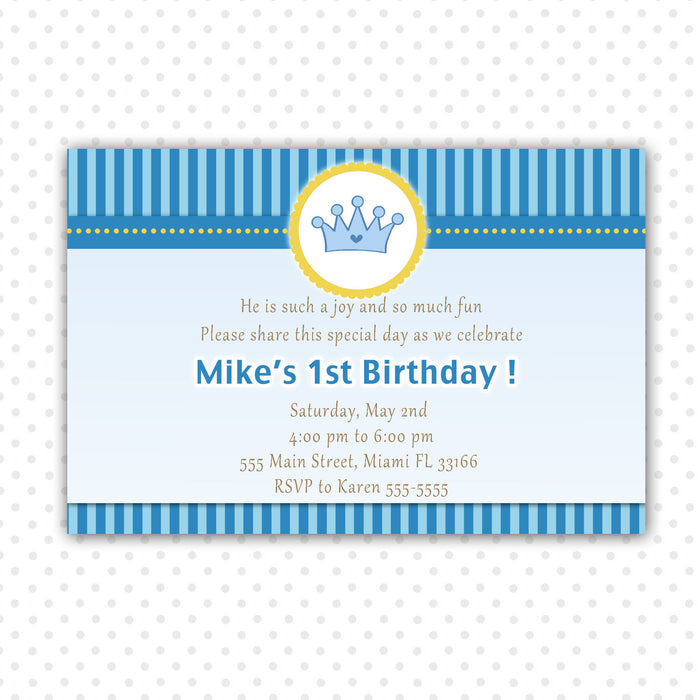 Prince Invitation Boy Birthday Baby Shower Blue Yellow Stripes