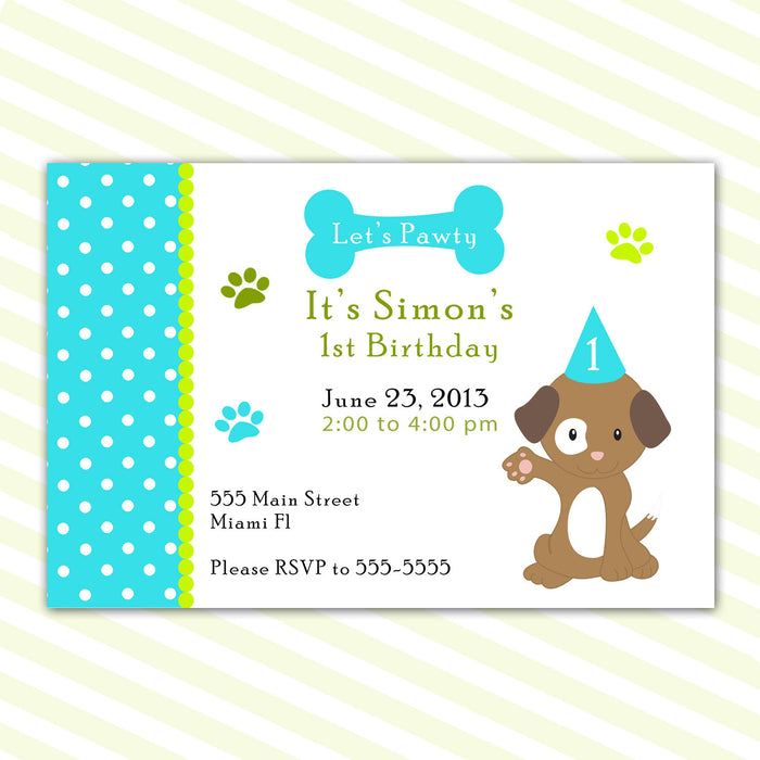 Puppy Invitation Boy Birthday Party Baby Shower