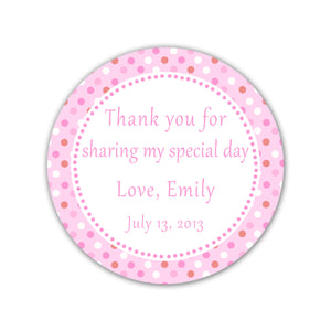 Pink Polka Dots Thank You Tag Label Sticker Baby Girl Shower