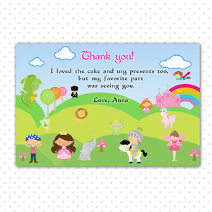 Storybook Thank You Cards - Hero Princess Thank You Card Knight Dragon Thank You Note Elephant Fairy Lion Birthday Party INSTANT DOWNLAOD