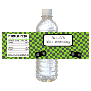 Green Video Game Bottle Label Kids Birthday