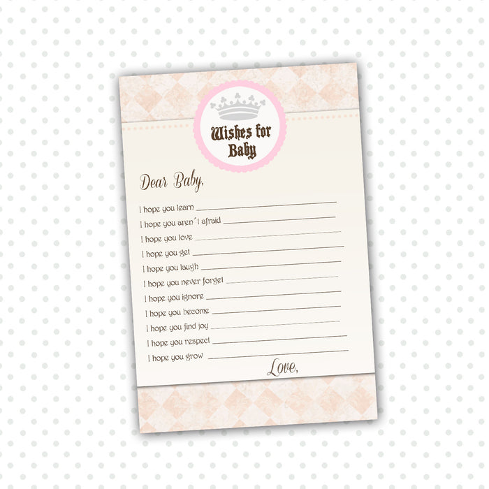 Wishes for Baby Card Princess Pink Brown