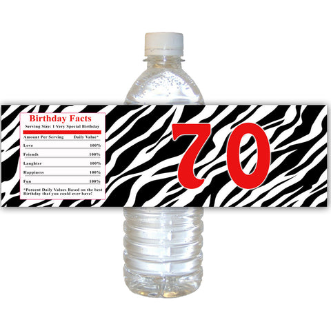 70th Adult Birthday Bottle Label Zebra Red