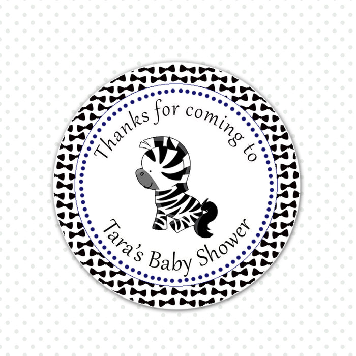 Bowtie Zebra Baby Shower Birthday Favor Label Tag Sticker