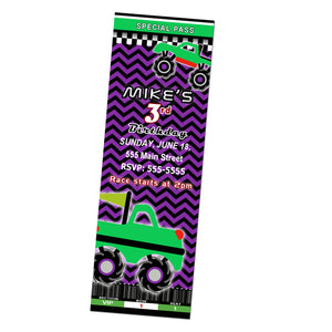 monster truck invitation purple green
