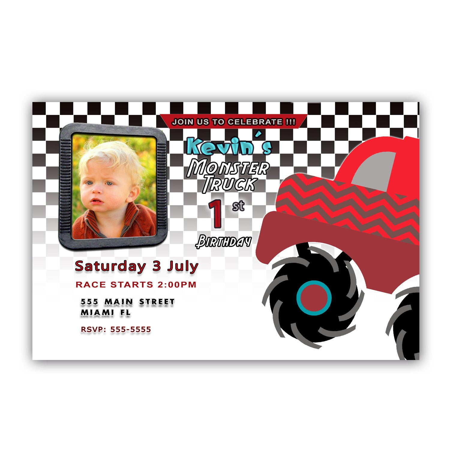 Monster Truck Invitation Boy Birthday Race Party Red – Pink The Cat