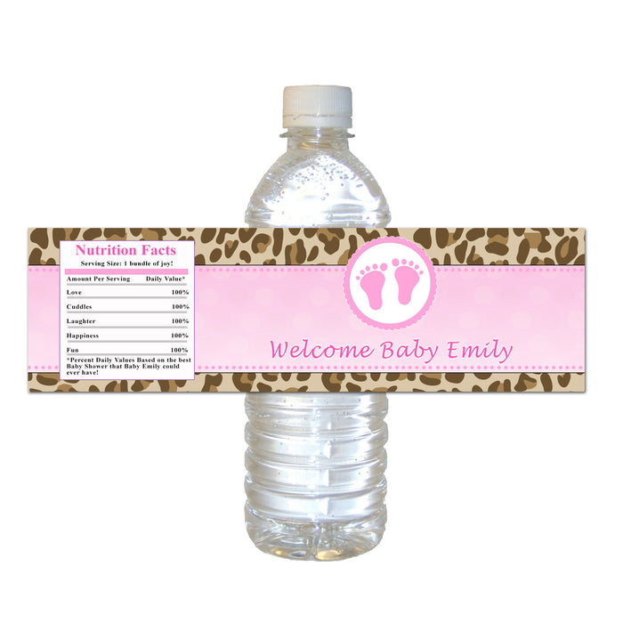 Brown Pink Cheetah Feet Baby Shower Bottle Label
