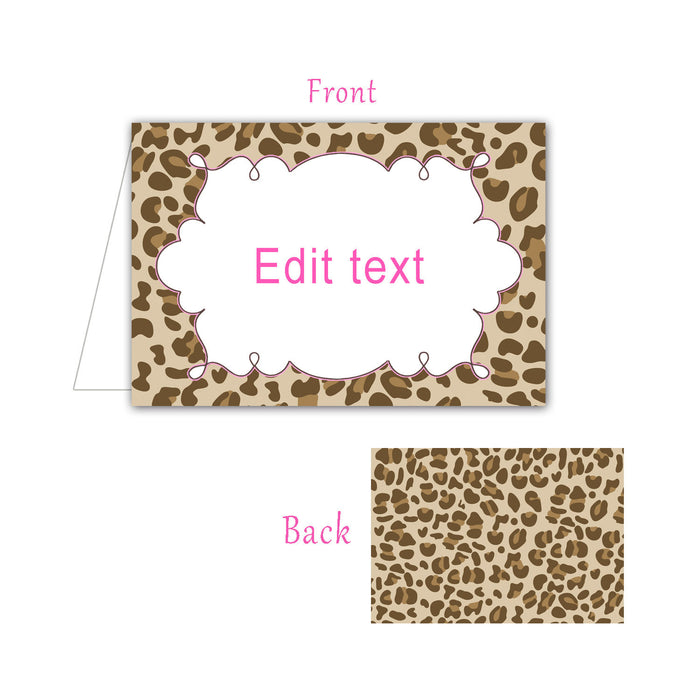 Buffet Food Label Wedding Place Seating Name Card Pink Leopard