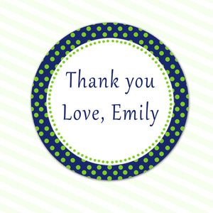 Green Navy Polka Dots Thank You Tag Label Sticker Birthday Bridal Baby Shower