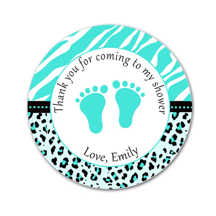 Teal Zebra Leopard Baby Shower Thank You Tag Sticker Favor Label