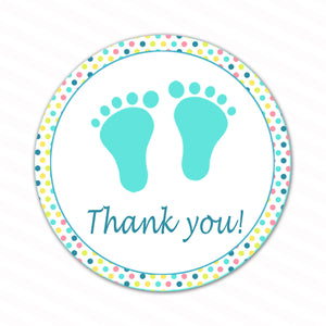 INSTANT DOWNLOAD Pastel Polka Dots Baby Feet Thank You Tags - Baby Shower Favors Baby Shower Items Party Favors Baby Shower Decorations