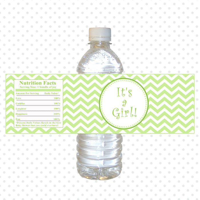 Its a Girl Lime Green Chevron Baby Shower Bottle Label Printable