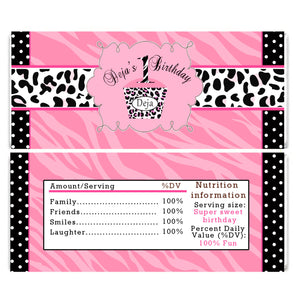 Diva Pink Zebra Birthday Candy Bar Wrapper Label