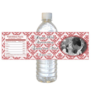 Ruby Red Wedding Anniversary Photo Bottle Label