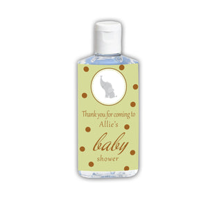 Green Brown Elephant Hand Sanitizer Label Baby Shower Unisex