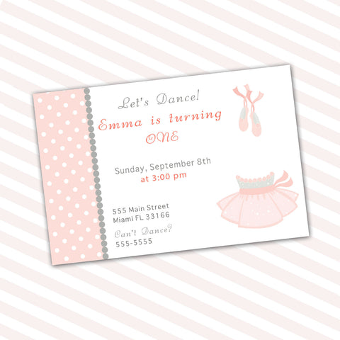 tutu cute birthday invitation