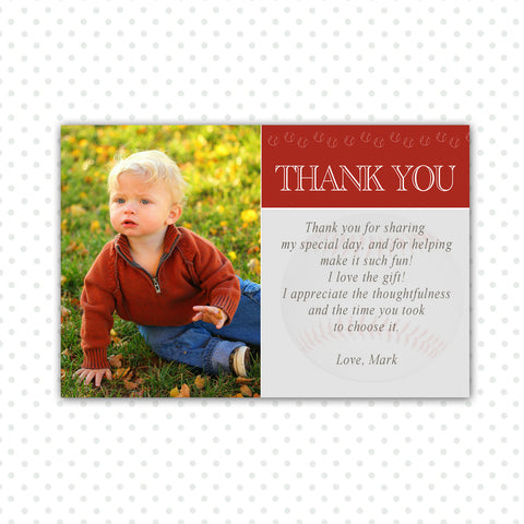 Baseball Thank You Note Photo Card Boy Birthday Red
