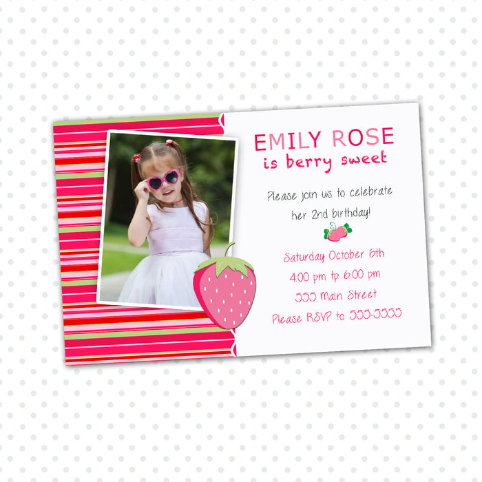 Strawberry Girl Birthday Invitation Photo Card