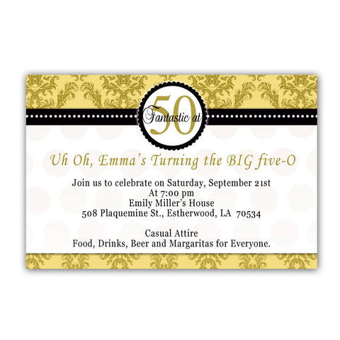 Adult Birthday Invitation Black Gold Damask