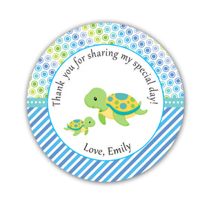 Turtle Labels Favor Tag Sticker Baby Boy Shower Blue Green