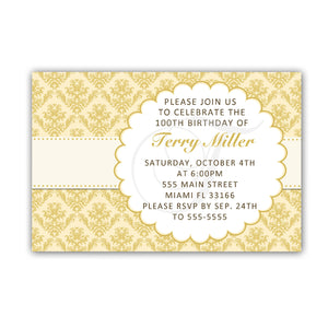 Adult Birthday Invitation Damask Gold Any Age Printable