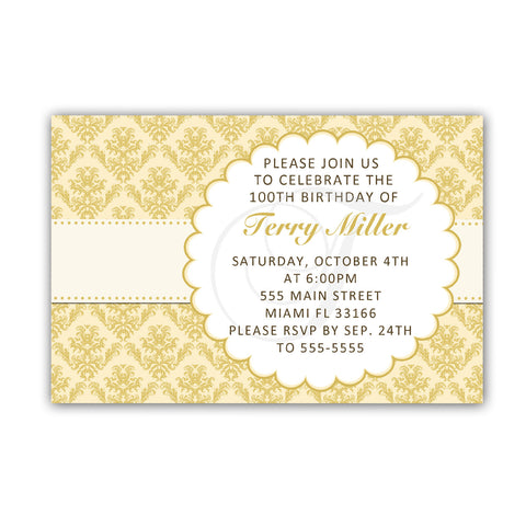 Adult Birthday Invitation Damask Gold