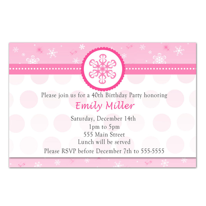 Winter Wonderland Snowflake Adult Birthday Invitation Pink