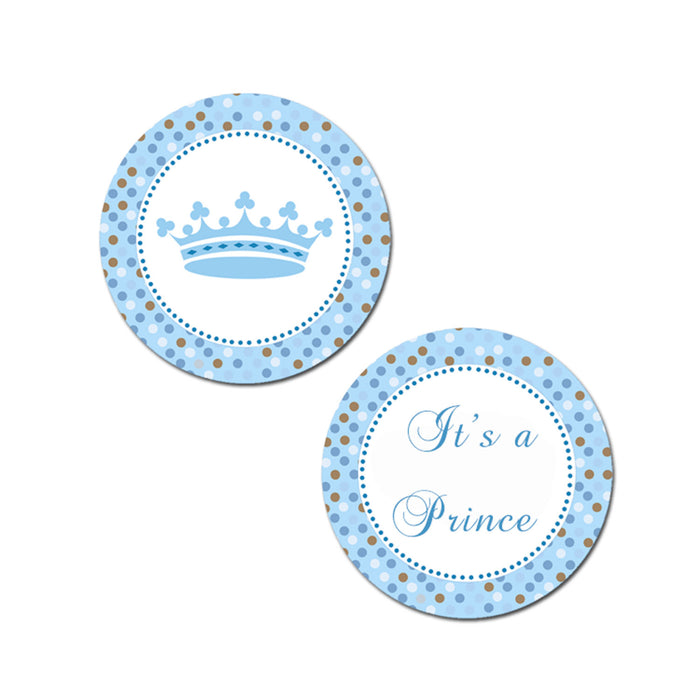 Prince Blue Brown Baby Shower Favor Label Tag Printable