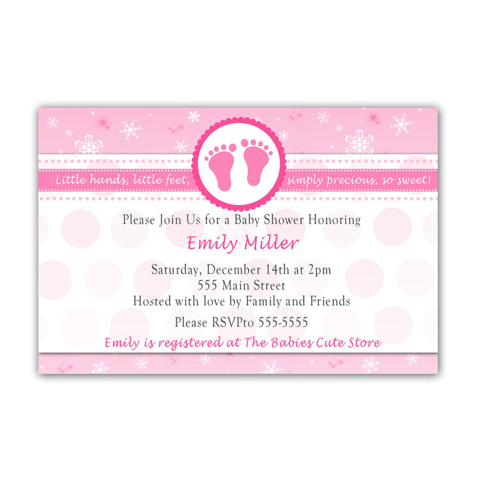 Snowflake Baby Shower Invitation Pink Winter Wonderland