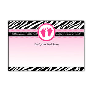 Baby Girl Shower Black Invitation Thank You Card Hot Pink Zebra