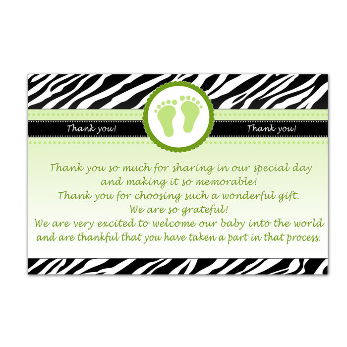 Zebra Unisex Baby Shower Thank You Cards Note - Green Baby Feet Printable INSTANT DOWNLOAD