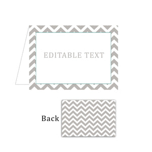 Candy Buffet Food Label Place Seating Card Grey White Chevron
