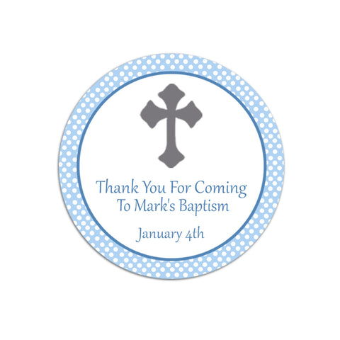 Blue Polka Dots Boy Christening Baptism Thank You Tag Label Sticker