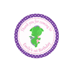 Purple Green Dragon Birthday Baby Shower Party Thank You Tag Label Sticker